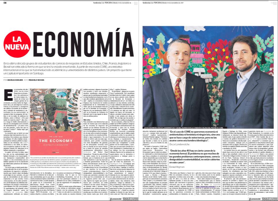 Daniel Hojman, Nueva Economía, La Tercera.