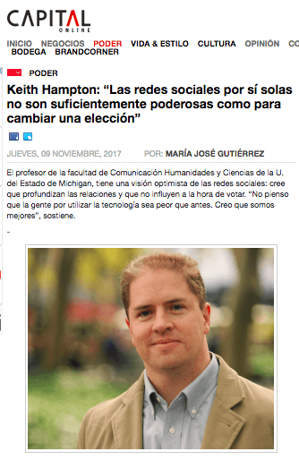 Keith Hampton, revista Capital: