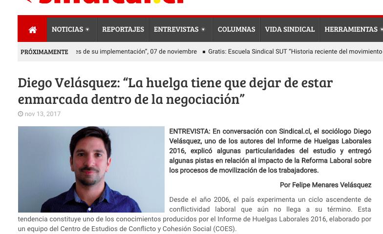 Diego Velasquez, Entrevista en Sindical