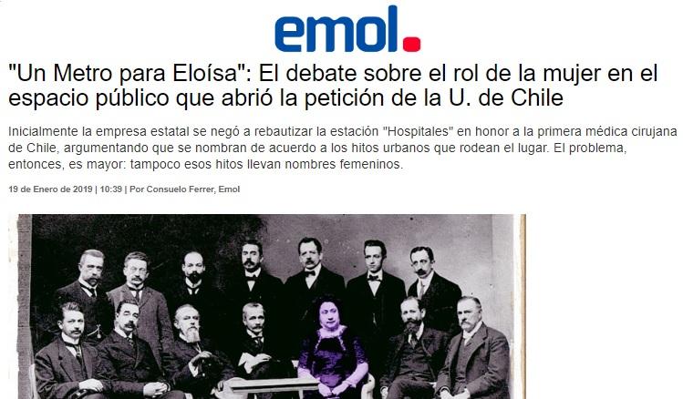 """PRENSA  """"Un Metro para Eloísa""""  El debate sobre el rol de la mujer en el  espacio público que abrió la petición de la U. de Chile 126e2ad5a74"""